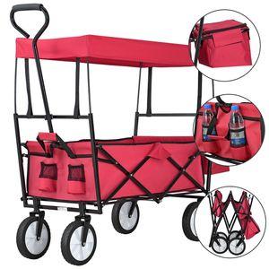 Juskys Bollerwagen faltbar mit Dach und Tasche | Gummiräder | Stoff schmutzabweisend | Handwagen bis 80 kg belastbar | rot