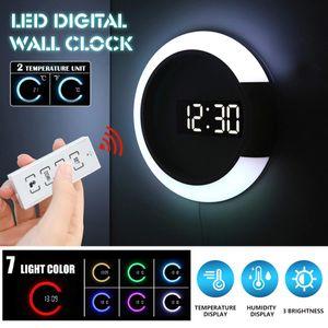 Meco Fernbedienung LED Digitale Wanduhr Hollow 7 Buntes Zurück Licht Wohnzimmer