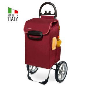 Einkaufstrolley KILEY XXL bordeaux mit 78l Fassung & Seitentaschen - Extragroße, leise & abnehmbare Gummiräder