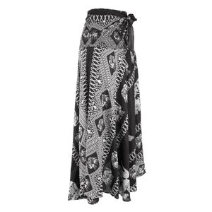 Womens Bohemian Long Maxi Rock Hippie Boho Kleid Taille verstellbar schwarz 96cm Hippie-Rock
