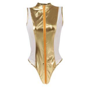 Frauen  Plus Size Bodysuit ärmellosen Reißverschluss Overall 3XL Golden Nasses Aussehen