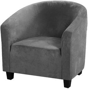 (Grau) Club Stuhl Schonbezug, High Stretch Samt Badewanne Stuhlhussen Sessel Sofabezug Schonbezug Möbelschutz Soft Couch Bezüge