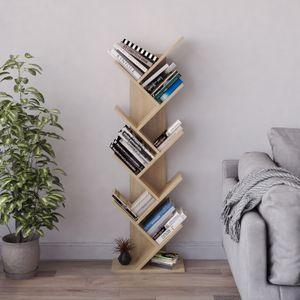 Meerveil Bücherregal in Baumform aus Holz, Würfelregal, Bücherschrank ,exquisites 9 lagiges Aufbewahrungsregal für CDs, Regal für Magazine, einfaches Design und Platzsparen, Hellbraun