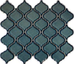 Retro Vintage Mosaik Fliese Keramik Florentiner blau gesprenkelt glänzend MOS13-0408