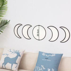 MEIYOU Skandinavische natürliche Nachbildung Glas Mondphase Spiegel Set Innenarchitektur Holz Mond Phase Spiegel böhmische Wanddekoration für Raum (Beige)