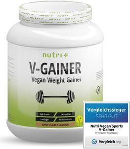 2019 Mass & Weight GAINER - ohne Süßstoff & Zucker - V-GAINER 2kg Schokolade - Masseaufbau - ohne Maltodextrin & Zusatzstoffe - 2000g vegan