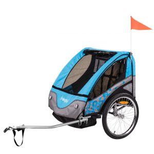 FROGGY Kinder Fahrradanhänger mit Federung + 5-Punkt Sicherheitsgurt, Anhänger für 1 bis 2 Kinder, Design Cyan