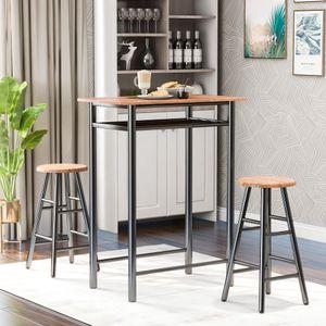 3-teiliges Stehtisch-Set modernes Pub-Tisch- und Stühle-Ess-Set Esstisch-Set mit Küchenthekenhöhe und 2 Barhockern Frühstücksbar Kaffeebar hinter dem Couchtisch