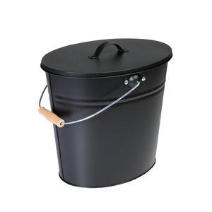 Ascheeimer, schwarz, 15 l, mit Deckel