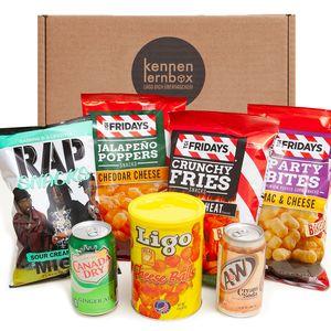 Chips Box aus Amerika | Kennenlernbox mit 6 beliebten Chips und Getränke aus den USA | Geschenkidee für Ostern und Geburtstage