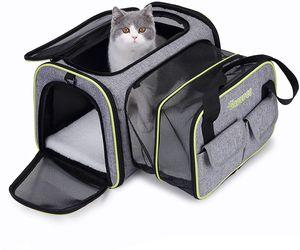 DADYPET Transporttasche Katze und Kleine Hunde im Auto, Katzentransportbox Katzen Transporttasche & Hundebox für den Transport von Hund & Katze im Auto oder in der Bahn 44.5 * 33 * 28cm (Grau)