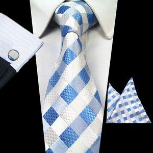 Karierte Krawatte Set Jacquard Männer Krawatte Hanky Manschettenknöpfe Set Bindung der Männer für Hochzeit -(2,)