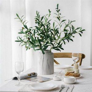1Pc künstlicher Olivenzweig mit Früchten gefälschte Pflanzenfotografie Requisiten