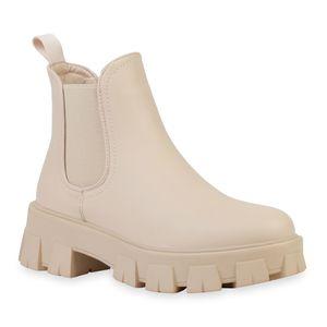 VAN HILL Damen Stiefeletten Plateau Boots Blockabsatz Profil-Sohle Schuhe 836326, Farbe: Beige, Größe: 39