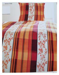 Flanell Winter Bettwäsche, Übergröße: 155x220 + 80x80cm, rot orange creme, Microfaser