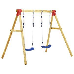 Kiefernholz Schaukelgestell mit verstellbaren Seilen Schaukel Kinderschaukel Doppelschaukel 230 x 130 x 166 cm, Max Gewichtsbelastung 100 kg