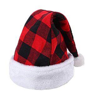 Weihnachtsmuetze Plaid Weihnachtsmuetze Weihnachtsfeiertagshut fuer Erwachsene fuer Weihnachten Neujahr Festliche Feiertagskostuem Partyzubehoer