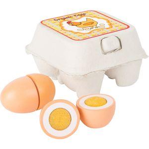 Small Foot 10591 Eier aus Holz für Kaufmannsladen im Eierkarton, mehrfarbig (4er Pack)