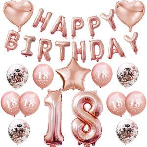 Oblique Unique 18. Geburtstag Party Deko Set - Happy Birthday + Zahl 18 Ballons + Konfetti Luftballons roségold