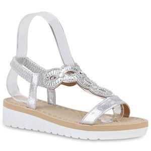 Mytrendshoe Damen Sandaletten Keilsandaletten Strass Keilabsatz Sommerschuhe 830394, Farbe: Silber, Größe: 37