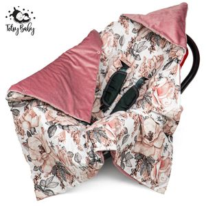 Einschlagdecke Babyschale Babydecke Kinderwagen Decke für Sommer Frühling Fußsack 90x90cm Rosa Velvet und Baumwolle mit Wilde Rose Motiv
