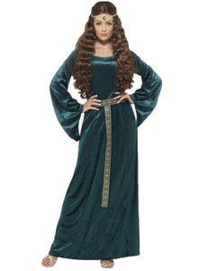 Medieval Maid Costume Green with Dress & Headband, Größe:S