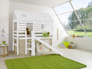 Relita Spielbett Tom´s Hütte und Bett Eliyas mit Rutsche und Textilset, Buche massiv weiß lackiert; BS1311117-B90+ZB1371417+TX5002028+TX5032028-M1