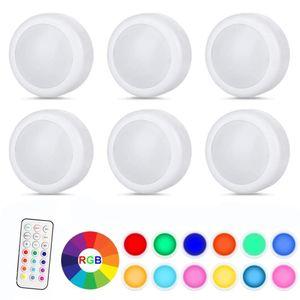 6 Stücke LED RGB Schrankleuchten Nachtlicht Kabinett Beleuchtung Batteriebetrieben mit Fernbedienung
