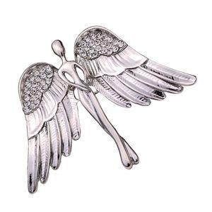 Sicherheitsnadel Brosche Schal Mantel Kleid Pin für Damen Heren Engel Flügel Brosche kristall Strass Farbe Silber