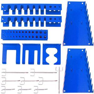 Hakenset Erweiterung 17 teilig, für Werkzeugwand Lochwand Werkzeughalter, Blau