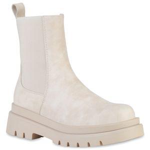 VAN HILL Damen Plateau Boots Stiefeletten Stiefel Profil-Sohle Schuhe 837887, Farbe: Beige, Größe: 37