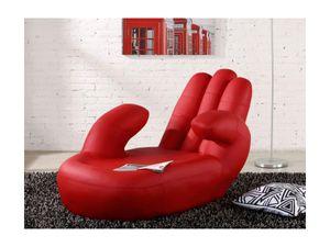Recamiere links CATCHY - Kunstleder - Rot