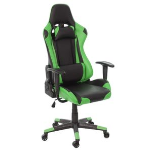 Bürostuhl HWC-D25, Schreibtischstuhl Gamingstuhl Chefsessel Bürosessel, 150kg belastbar Kunstleder  schwarz/grün