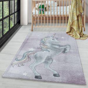 Kurzflor Kinderteppich Kinderzimmer Teppich Muster Einhorn Sterne Weich Violet, Farbe:Violett, Grösse:160x230 cm