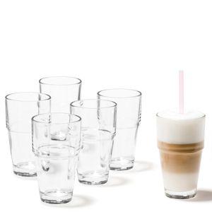 Leonardo Solo Becher 6er Set, Latte Macchiato, Kaffeeglas, Trinkglas, Glas, 400 ml, 86519