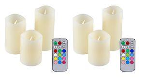 6er Set IOIO LED 48 Echtwachskerzen mit Farbwechsel und Fernbedienung