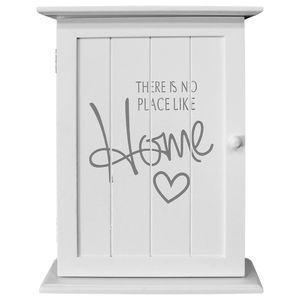 Wohaga® Schlüsselschrank 'There is no place like home' mit 6 Haken - Weiß