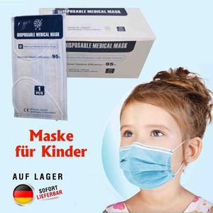 50x Hygiene 3-lagig medizinische Kinder Maske EN 14683, OP Mundschutzmaske Atemschutz