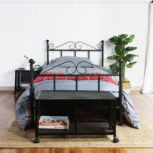 H.J WeDoo 90X190cm Einzelbett Bettgestell mit Lattenrost Metallbett Bettbezug,schwarz