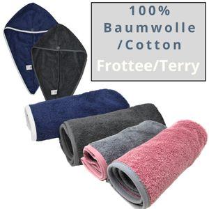 HOMELEVEL 2 Stück Frottee Haarturban mit Knopf für Erwachsene aus 100% Baumwolle, saugstark, Stabiler Halt 2 x Altrose