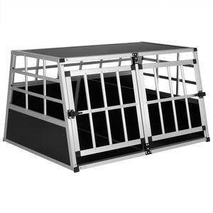 Cadoca Hundetransportbox Aluminium robust Hundebox Autotransportbox verschiedene Größen, Größe:Hundetransportbox XL