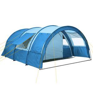 """CampFeuer Tunnelzelt """"Multi"""" Zelt für 4 Personen blau / hellblau"""