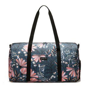 Jadyn B Weekender Bag - 56 cm./ 52 L große Damen-Reisetasche / Sporttasche mit Schuhfach (Navy Floral)