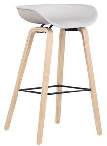 CLP Barhocker Anaheim Kunststoff 4-Fuß Eichenholzgestell mit Fußstütze, Farbe:weiß, Gestell Farbe:Natura (eiche)