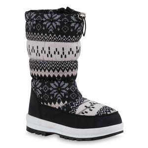 Mytrendshoe Damen Warm Gefütterte Winterstiefel Bequeme Stiefel Prints Schuhe 836083, Farbe: Schwarz Beige Weiß Muster, Größe: 38