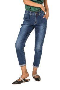 Damen Mom Jeans High-Waist Cropped Casual Used Design Relaxed Stretch, Farben:Blau, Größe:38