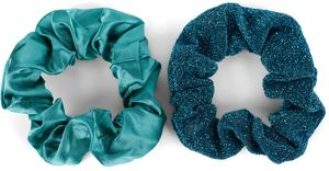 styleBREAKER 2-Teiliges Haargummi Set, Einfarbig Glänzend - Glitzernd, elastisch, Scrunchie, Zopfgummi, Haarband 04027031, Farbe:Petrol