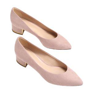 Damen Business-Schuhe Mit Dicken Absätzen Rutschfeste High Heels Mit Spitzer Zehenpartie Bequeme Einzelschuhe,Farbe: Pink Apricot,Größe:39