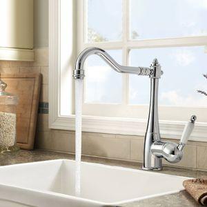 Auralum 360° Drehbar Küchenarmatur Mischbatterie Einhebelmischer Küche Wasserhahn Armatur Chrom