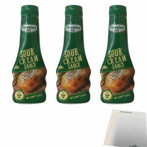 Develey Sour Cream Sauce mit Schnittlauch 3er Pack (3x250ml Flasche) + usy Block